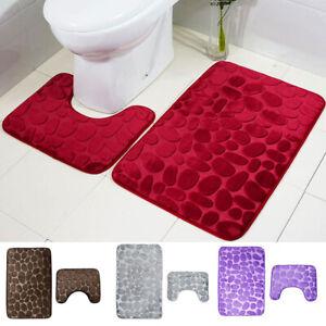 2Pcs/set Bathroom Rug Soft Bath Mats Non Slip Carpet Toilet U Shaped Rugs