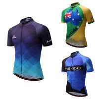 Men's Full Zip Cycling Wear Top Bike Cycle MTB Short Sleeve Jersey Biking Shirts