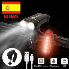 10000LM LED 2X XM-L2 USB Recargable bicicleta ligero faro lámpara Impermeable EU
