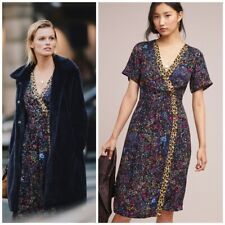 Anthropologie maeve Morgan Dress New Floral Leopard Button New Women Uk 8