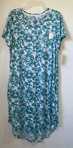 Secret Treasures womens sleepshirt size Large 12-14 short sleeve green new