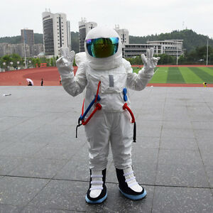 Spaceman Mascot Costume Astronaut Halloween Party Dress Adult Size Fast Shipping