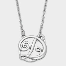 "Monogram Initial Script Necklace letter D Silver 1.5"" Large great gift"