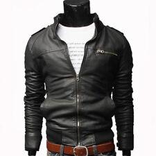 Mens Retro PU Leather Jacket Slim Fit Biker Motorcycle Warm Zipped Coat Outwear