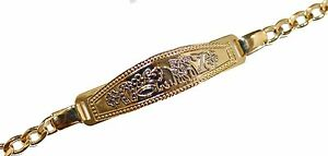 Lucky 8 Talisman Id Tag Bracelet 7.5 inch 18k Gold Plated - Good Luck Bracelet