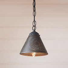 Crestwood Punched Tin Hanging Pendant Shade Light in Black - Country Kitchen