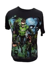 Green Lantern Comic Montage Body Print T-Shirt, Pre-owned size Medium