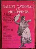 Affiche de 1976 ✤ Ballet National des PHILIPPINES ✤ AMCC Chambéry ✤ 40 x 60