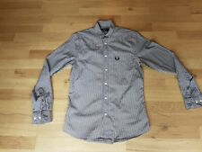 FRED PERRY Men's Cotton Check Long Sleeve Shirt Size Small Navy Blue Tartan