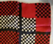 Vintage Mens Pure Silk Japan Pocket Square Checkered Retro Pattern Hand Rolled
