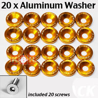 20pcs Billet Aluminum Fender Bumper Washer Bolt Engine Bay Dress Up Kit GOLDEN