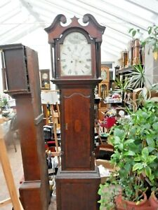 GRANDFATHER CLOCK  PAINTED DIAL SHIPS  SERVICED AND  GWO  COLLECTION ONLY