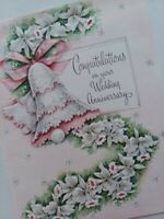 UNUSED Vtg CONGRATULATIONS on WEDDING ANNIVERSARY Embossed GREETING CARD