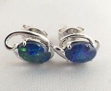 Unique Lightning Ridge Opal Triplet Stud Earrings Sterling Silver w Certificate