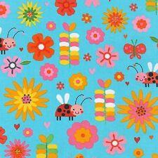 Robert Kaufman fabric. Jump Into Fun. Floral. Bugs. Ladybird. Per FQ