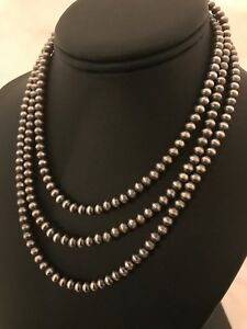 "Navajo Pearls Sterling Silver 5mm Beads Necklace 48"" 1033"