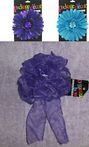 3 PC PACKAGE BOWS DECORATING PURPLE & TURQUOISE GEM DAISY & BOW SELF ADHESIVE