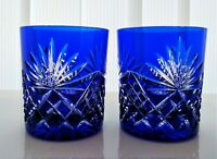PAIR AJKA CRYSTAL genuine cobalt cased cut to clear,  WHISKEY GLASSES