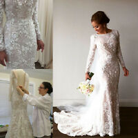 Luxury Mermaid Bride Gown Wedding Dress Applique Pearls Long Sleeve Custom Size