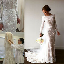 Modest Pearls Wedding Dress Long Sleeve Bride Gown Mermaid Plus Size Custom