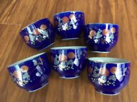 Antique old vintage Asian Japanese tea set with 6 cups