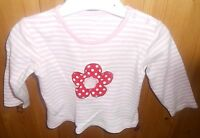 George baby girls' pink and white striped top with red flower, age 6-9 months