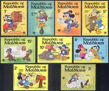 Maldive 1979 DISNEY/IYC/Moto/Moto/Lettere/Cartoni Animati/Animazione 9v Set b6065