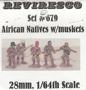 Afrikanische Stammeskrieger mit Musketen  - 5 Zinnfiguren - 28mm  1:64  unbemalt
