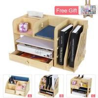 Wooden Box Container Holder Desktop Storage Organizer Home Office Desk Rack %