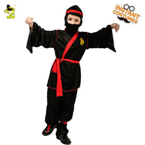 Boys Ninja Dress Up Costume Kids Cool Black Kung Fu Suit for Role Play Party