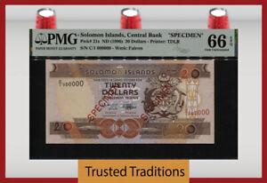 TT PK 21s 1996 SOLOMON ISLANDS 20 DOLLARS SPECIMEN PMG 66 EPQ GEM UNCIRCULATED