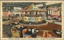 Atlantic City NJ Merry-Go-Round Colorful Linen Postcard