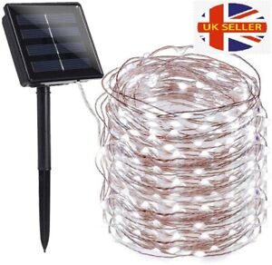 LED Solar String Lights Waterproof Copper Wire Fairy Christmas Garden Outdoor UK