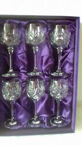 6 X Edinburgh Cut Crystal Wine Glasses Boxed Stunning Set free postage.