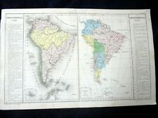 OLD MAP: Th. LEBRUN & A. LE BEALLE~ca 1860~AMERIQUE MERIDIONALE~SOUTH AMERICA