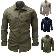 Men's Classic Long Sleeve Shirt Military Army Tactical Shirt Business Casual Top