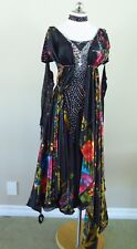 Ballroom Dance Competition Pageant Gown American Smooth Black Floral Medium