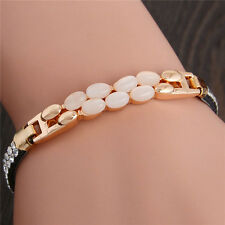 New Luxury Gold Plated Leather Austrian Crystal Bangle Bracelet Jewellery Gift
