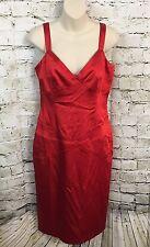 Calvin Klein Size 6 Women's Red V Neck Bodycon Sateen Dress Cocktail Party G7