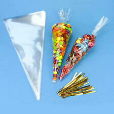 100pcs Cellophane Cone Bags Twist Ties Large size Party Sweet Cello Candy