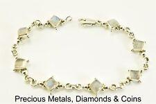 "Sterling Silver Beaded Bezel Set Moonstone Bracelet 7.25"" x 10mm"