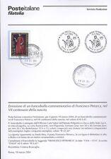 ITALIA 2004 FRANCESCO PETRARCA  BOLLETTINO COMPLETO DI FRANCOBOLLI FDC