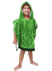 MINECRAFT Creeper Hooded Poncho Towel Beach Pool Bath Kids Child