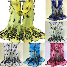 Women Peacock Flower Embroidered Lace Scarf Long Soft Wrap Shawl Stole Divine