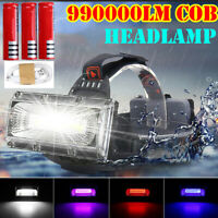 990000LM LED COB Headlamp Headlight Fishing Torch Flashlight USB Rechargeable