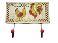 Chicken & Rooster Coat Hooks Country Kitchen Twin Coat Robe Rack Welcome SG1218