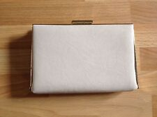 Ladies Accessorize Nude Pink Leather/Snake Skin/Gold Trim Small Clutch/Chain Bag