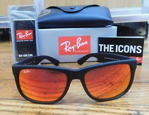 Ray-Ban Original Justin RB4165 622-6Q Matte Black-Red Mirror 55MM Sunglass
