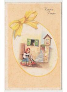 1953 Easter Card Little Girl Spinner Spinning Wheel Madonnina Frame Shape By Egg