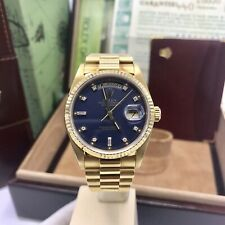 Vintage Rolex Day Date 18038 Solid 18k Gold Blue Diamond Factory Dial Set comple